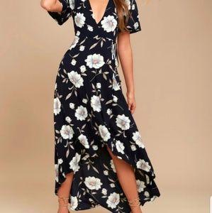 Lulus Navy Blue Floral Wrap Dress